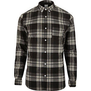 Grey check muscle fit check shirt