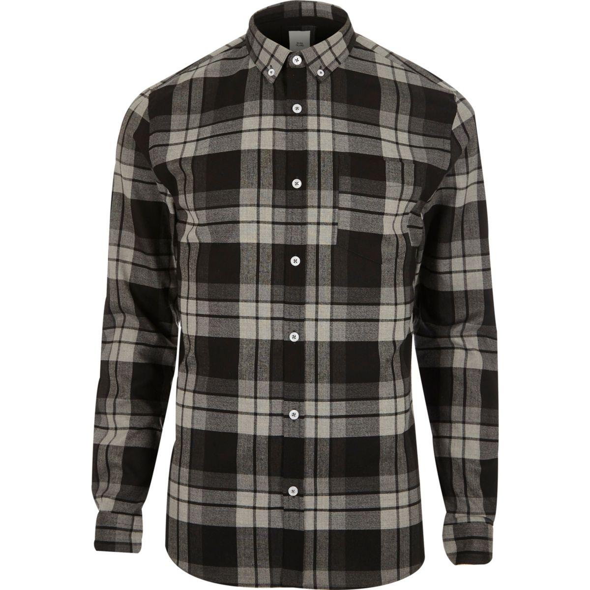 Grey check muscle fit check shirt