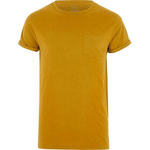 Big and Tall yellow crew pocket T-shirt