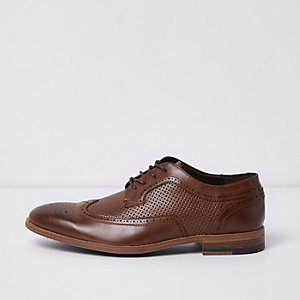 Tan perforated detail brogues