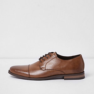 Brown toecap detail smart lace-up shoes
