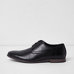 Black perforated panel smart lace-up shoes