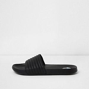 Zwarte doorstikte slippers