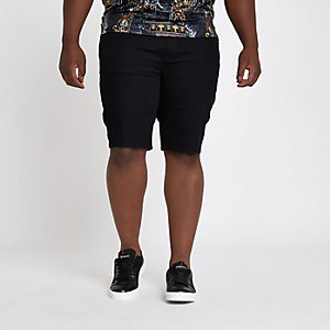 RI Big and Tall - Zwarte slim-fit denim short