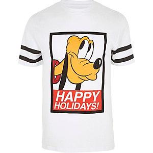 Wit aansluitend T-shirt met Happy holidays- en Pluto-print