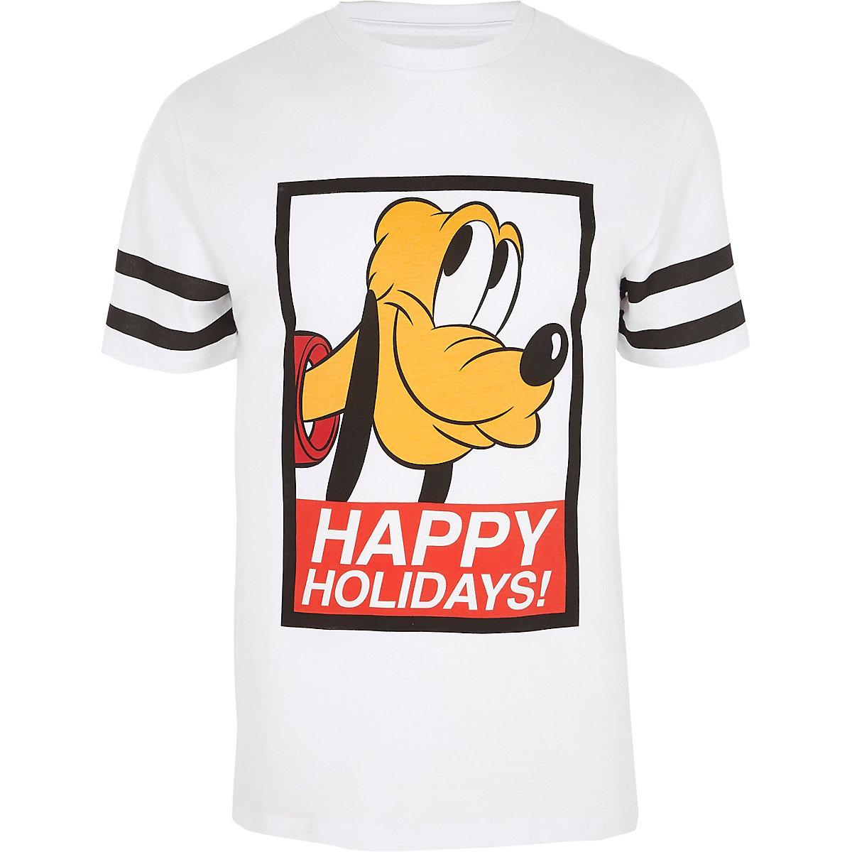 White Christmas Pluto print slim fit T-shirt