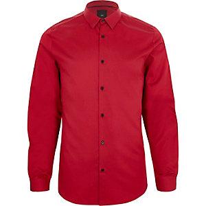 Rood satijnen slim-fit overhemd met lange mouwen