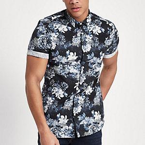 Marineblauw slim-fit overhemd met korte mouwen en bloemenprint