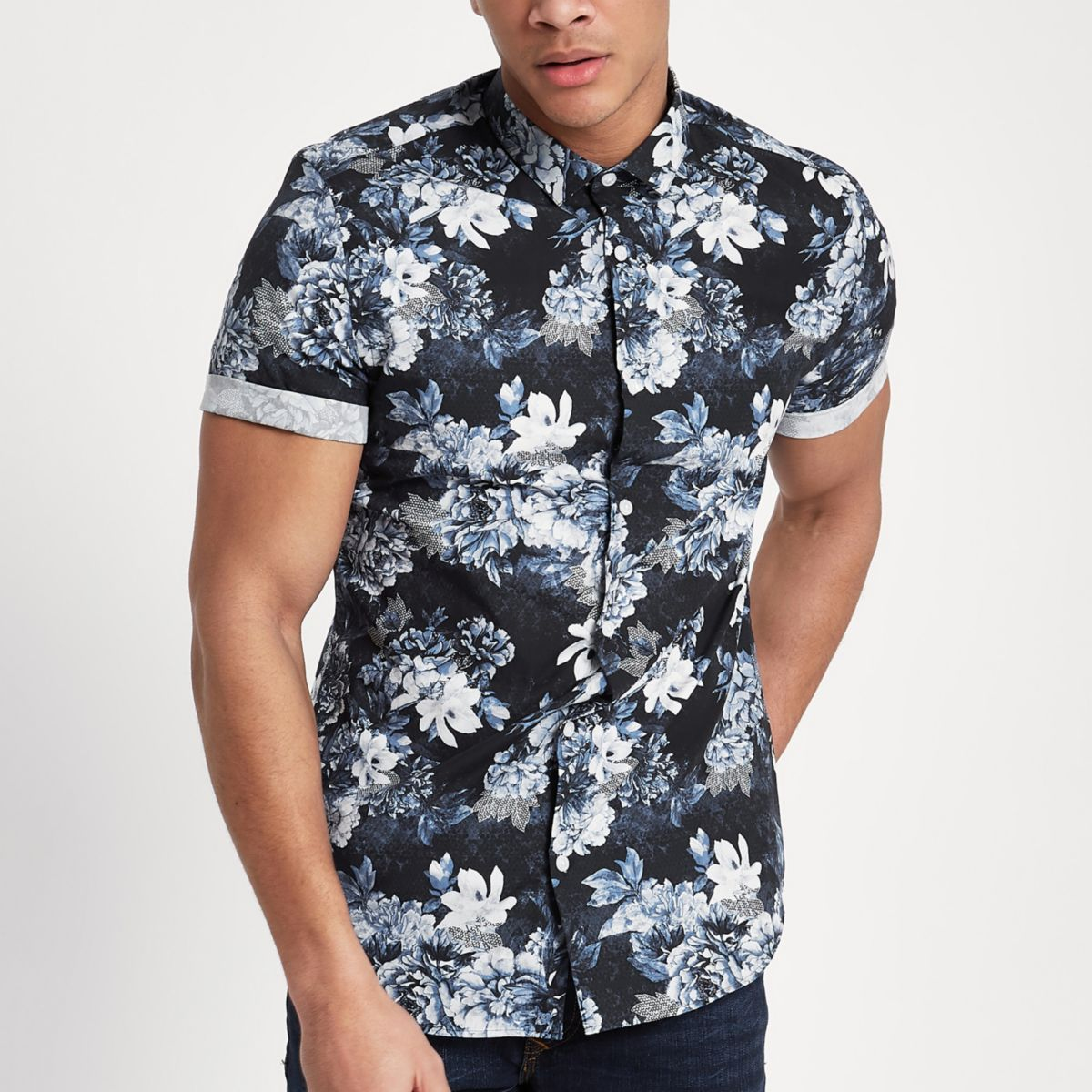 Navy floral slim fit short sleeve shirt shirts sale men for Mens slim fit short sleeve shirt