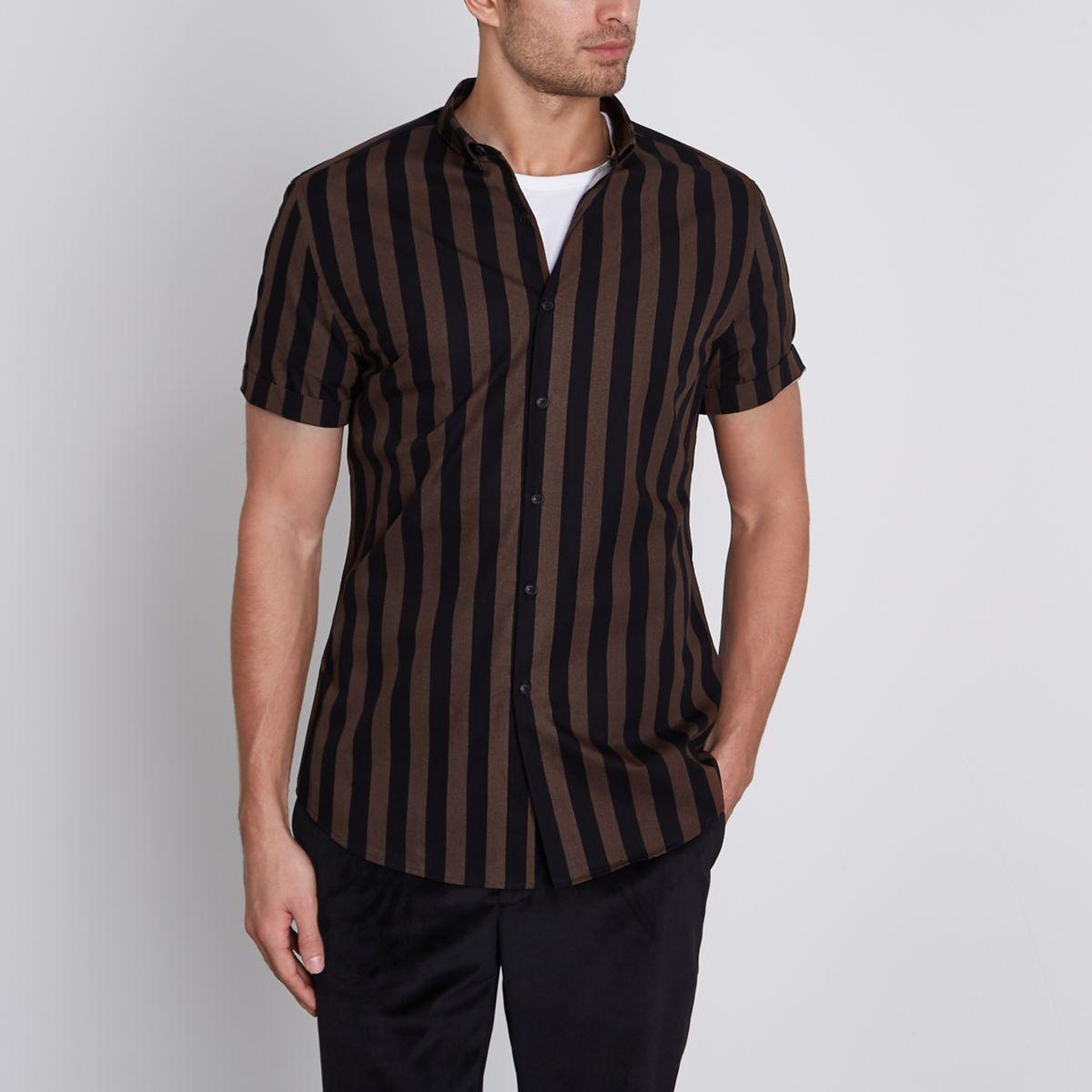 Brown stripe slim fit short sleeve shirt