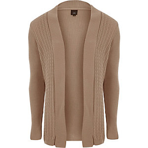 Brown cable knit panel cardigan