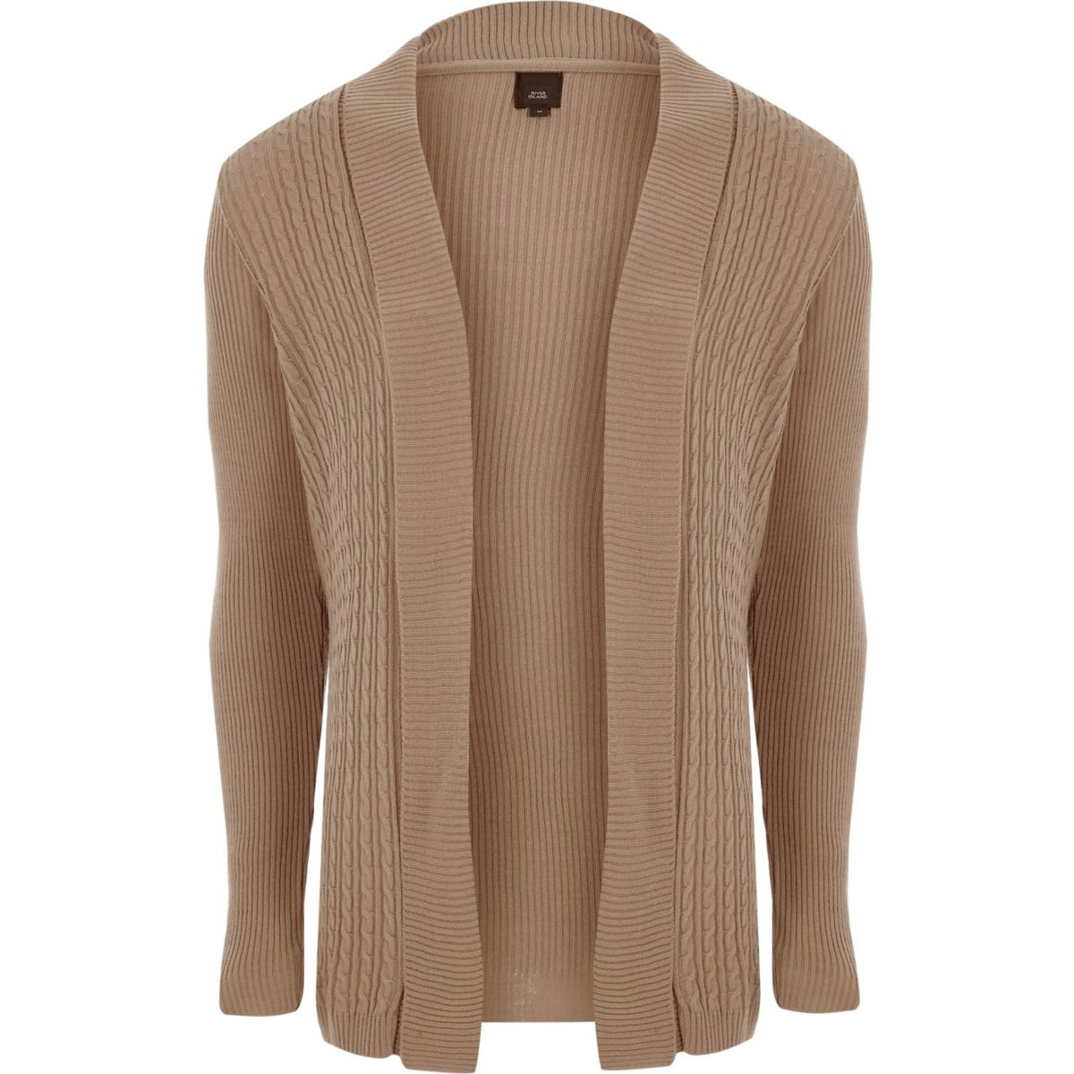 Brown Cable Knit Panel Cardigan Jumpers Cardigans Sale Men