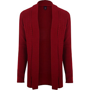 Red cable knit open front cardigan