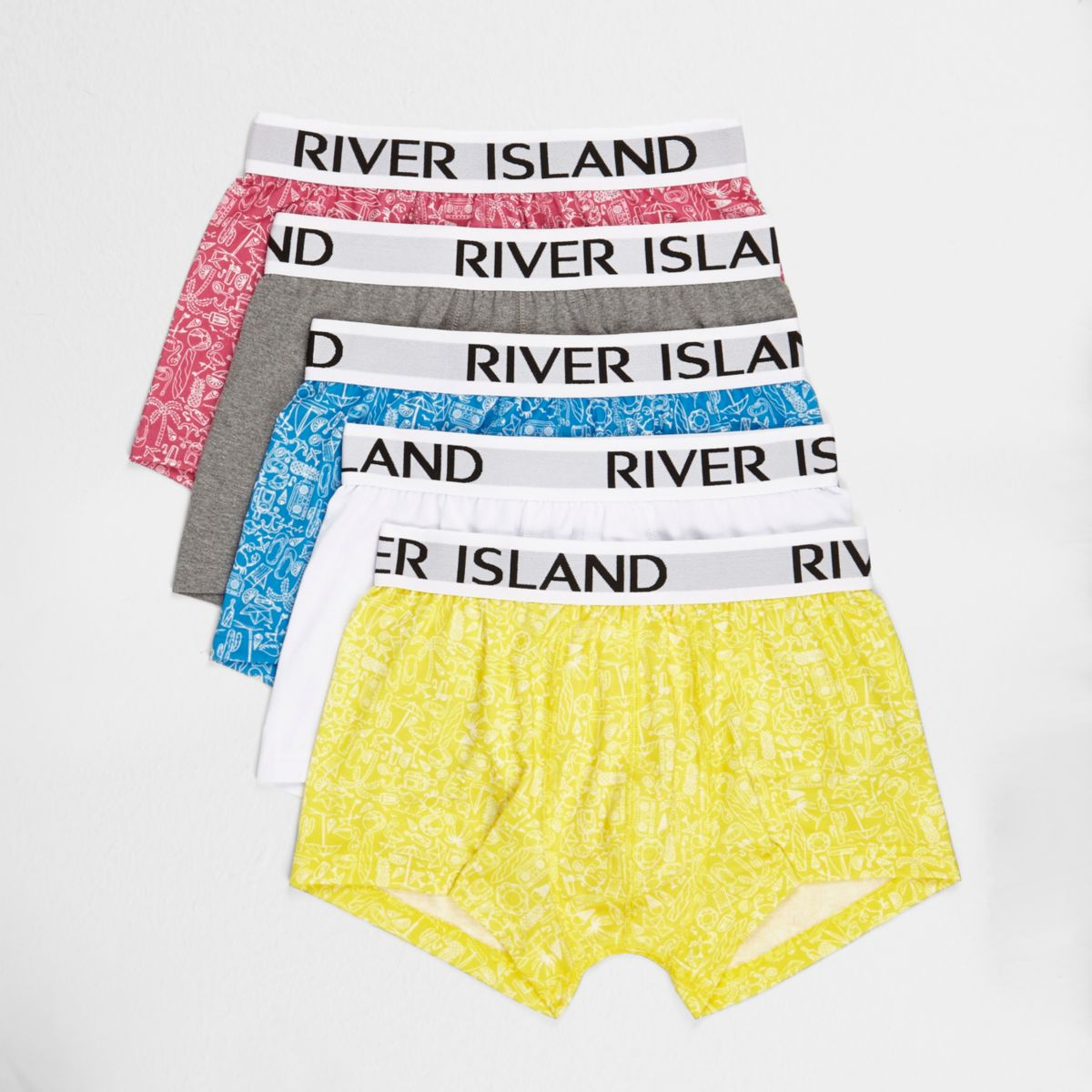 Gelbe Hipster-Slips mit Print, Set