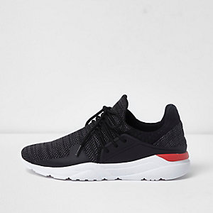 Black knitted lace-up runner sneakers