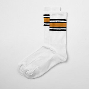 Chaussettes tubes rayées blanches et moutarde