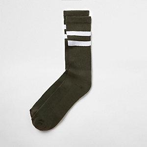 Chaussettes tubes rayées vertes