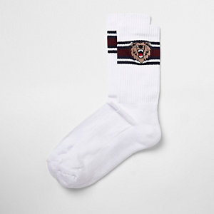 Chaussettes tubes rayées blanches avec broderie ours
