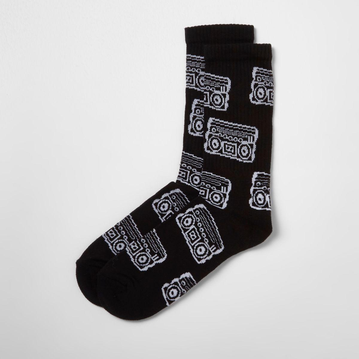 Schwarze Socken mit Kassettenmotiv