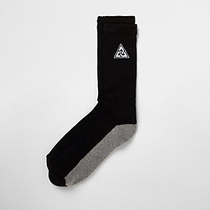 Black triangle embroidered tube socks