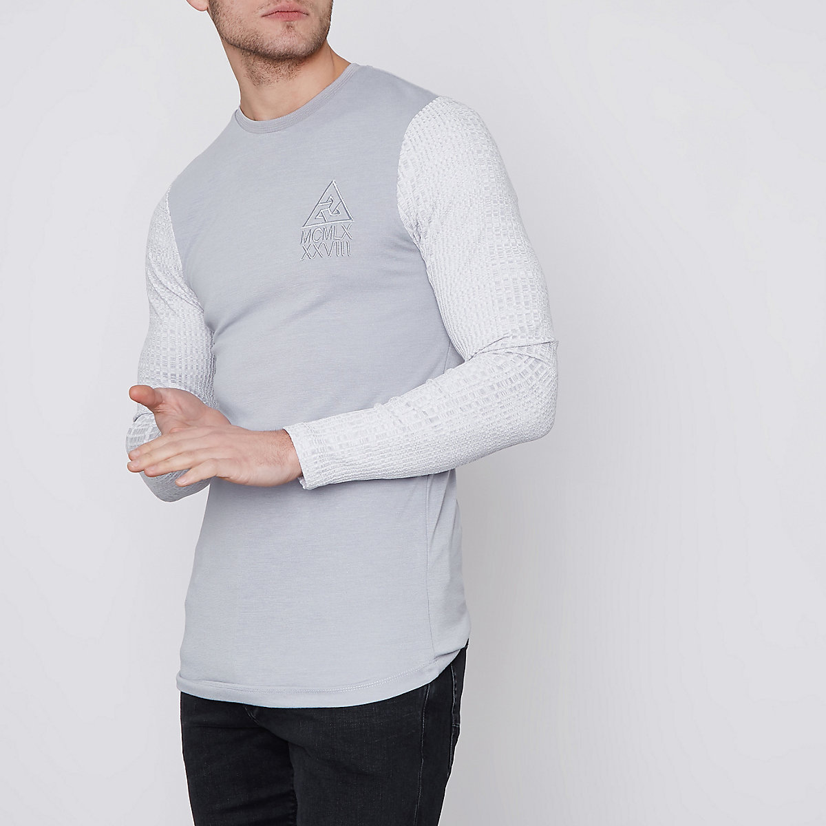 Grey block chunky rib sleeve muscle fit top