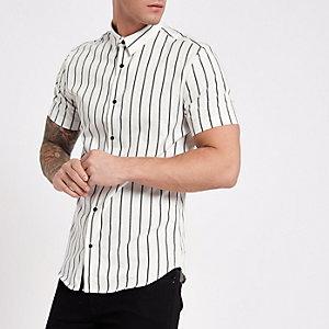 Wit gestreept slim-fit overhemd met korte mouwen