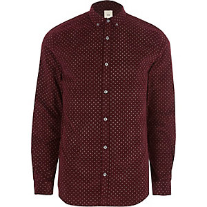 Dark red cord ditsy print slim fit shirt