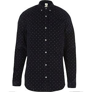 Navy cord ditsy print slim fit shirt
