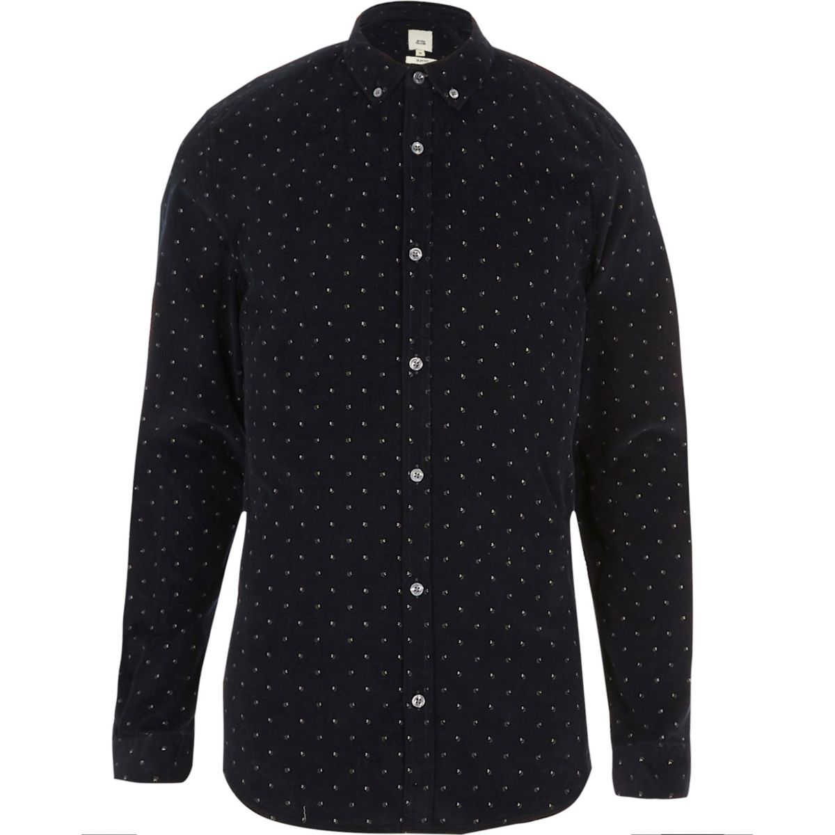 Navy cord ditsy print slim fit shirt