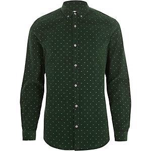 Chemise slim en velours côtelé à petites fleurs verte boutonnée