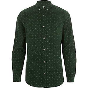 Groen corduroy slim-fit overhemd met fijne print en knopen
