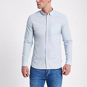 Hellblaues, langärmliges Slim Fit Hemd