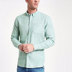 Green slim fit long sleeve shirt