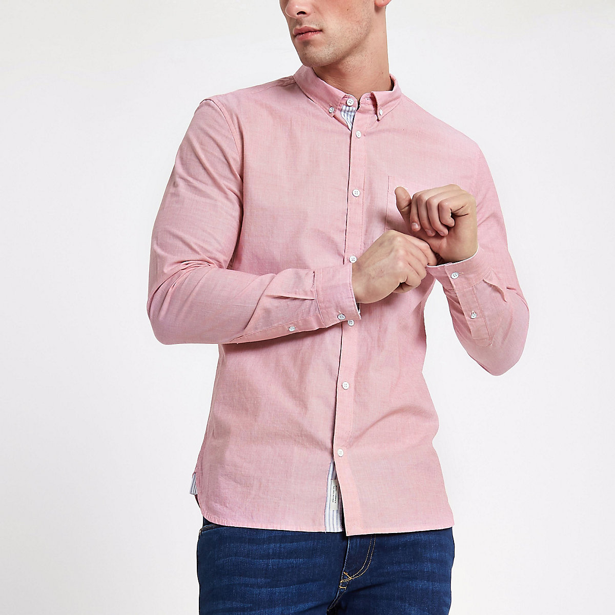 Pink slim fit long sleeve shirt