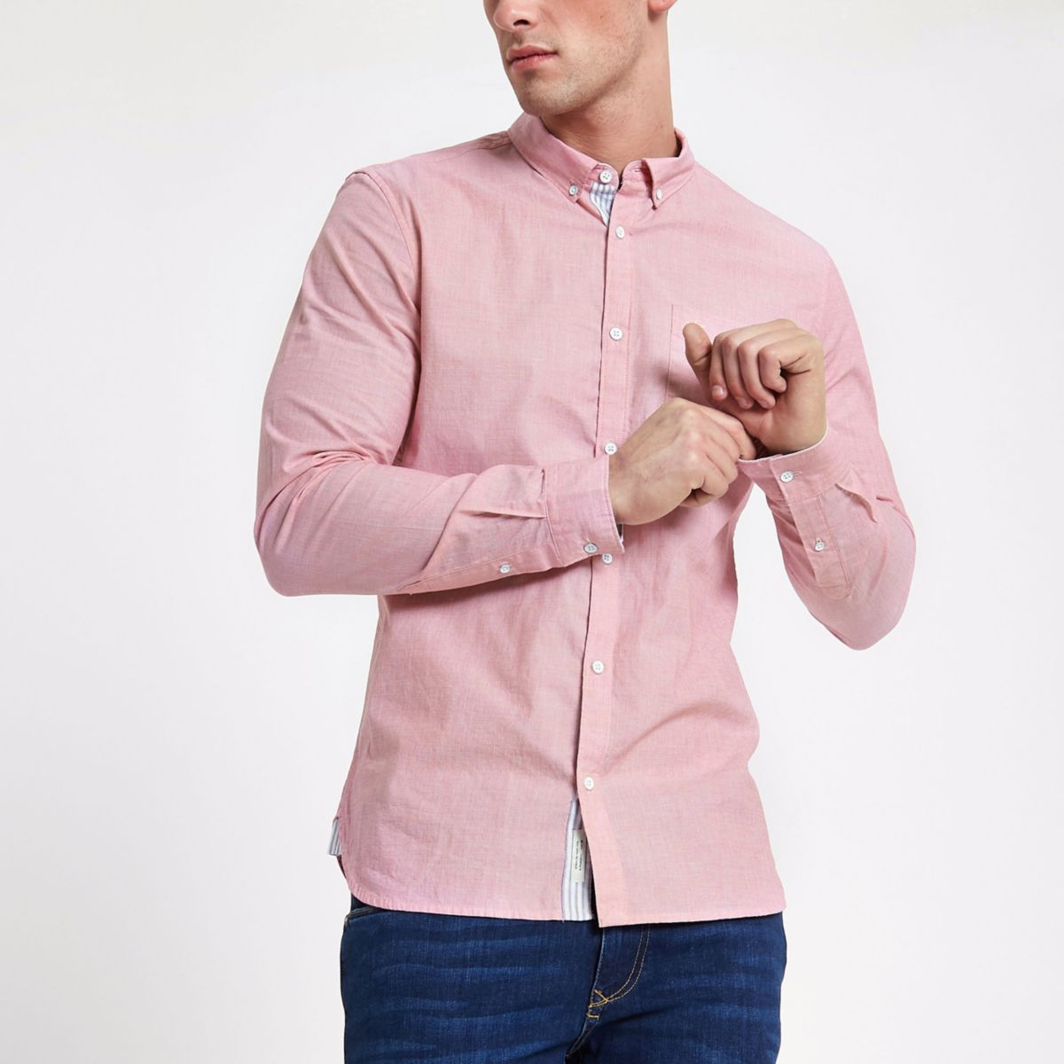 Red slim fit long sleeve shirt
