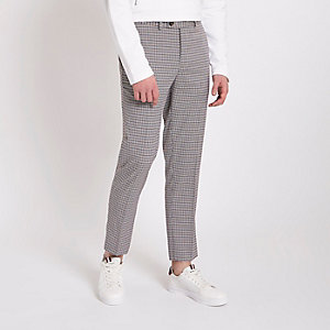 Grey check skinny cropped smart trousers