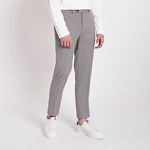 Graue, kurze, elegante Skinny-Hose mit Karomuster