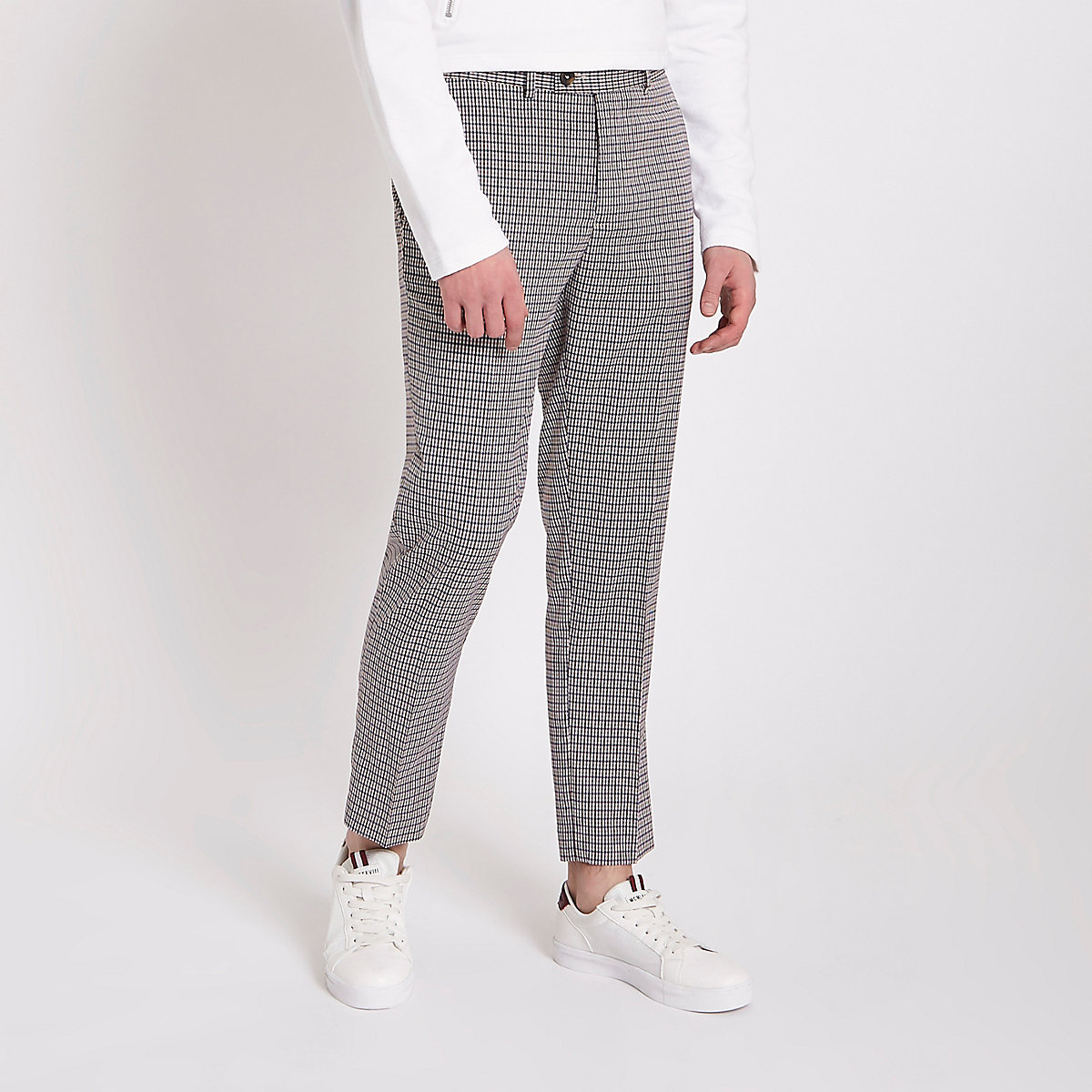 Grey Check Skinny Cropped Smart Pants Smart Pants Pants Men