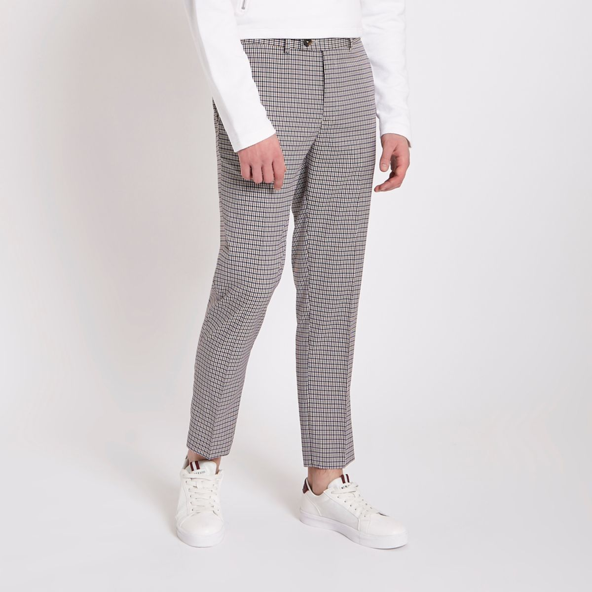 Grey check skinny cropped smart pants