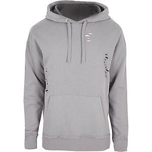 Light grey distressed hoodie