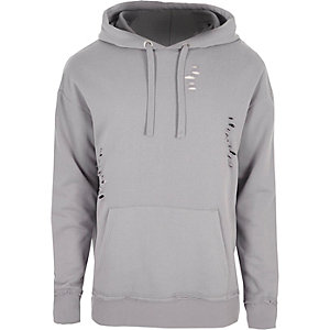 Light grey distressed hoodie
