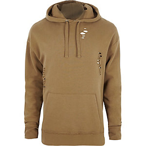 Tan ripped oversized hoodie