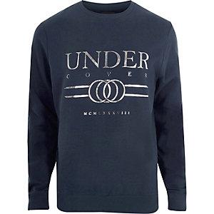 Navy 'undercover' foil print sweatshirt