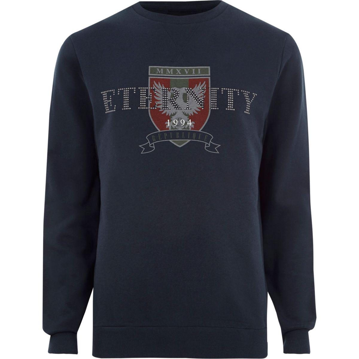 Navy 'eternity' stud printed sweatshirt