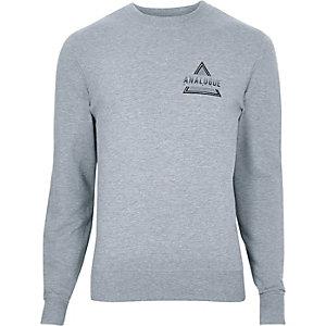 Grijs gemêleerd sweatshirt met print 'analogue'