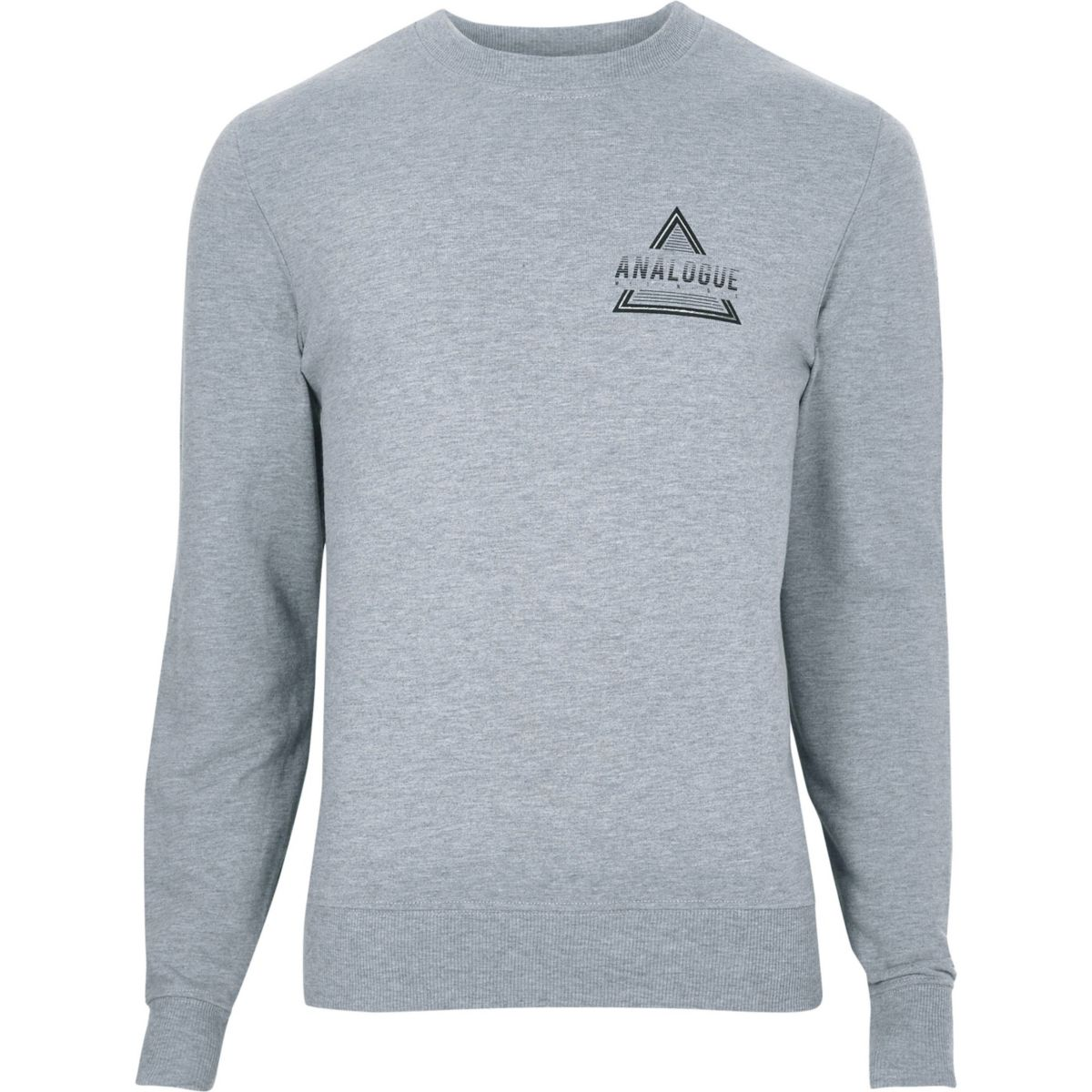 Grey marl 'analogue' print sweatshirt