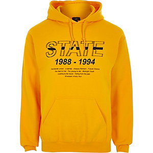 Yellow 'state' print hoodie