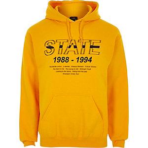 Sweat à capuche imprimé «state» jaune
