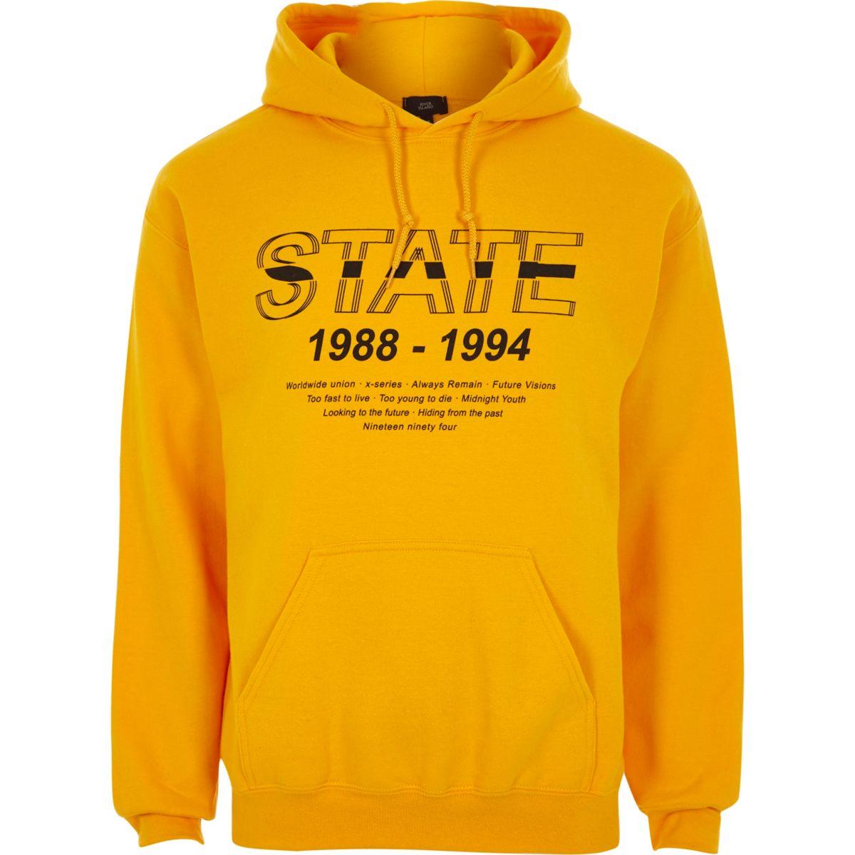 Yellow 'state' print hoodie