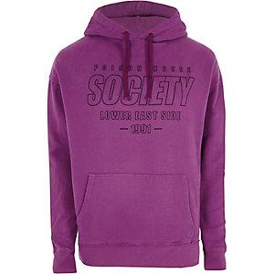 Sweat à capuche oversize à imprimé « Society » violet